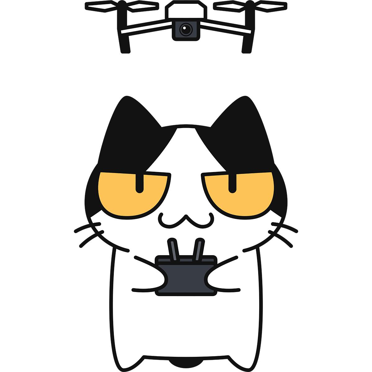 ドローンを飛ばす猫の無料イラスト