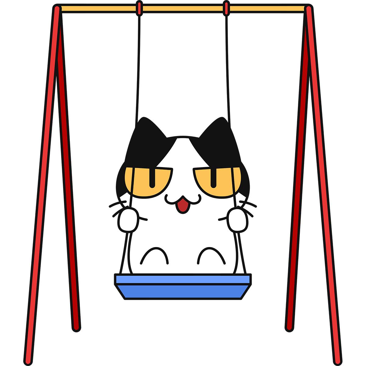 ブランコで遊ぶ猫の無料イラスト