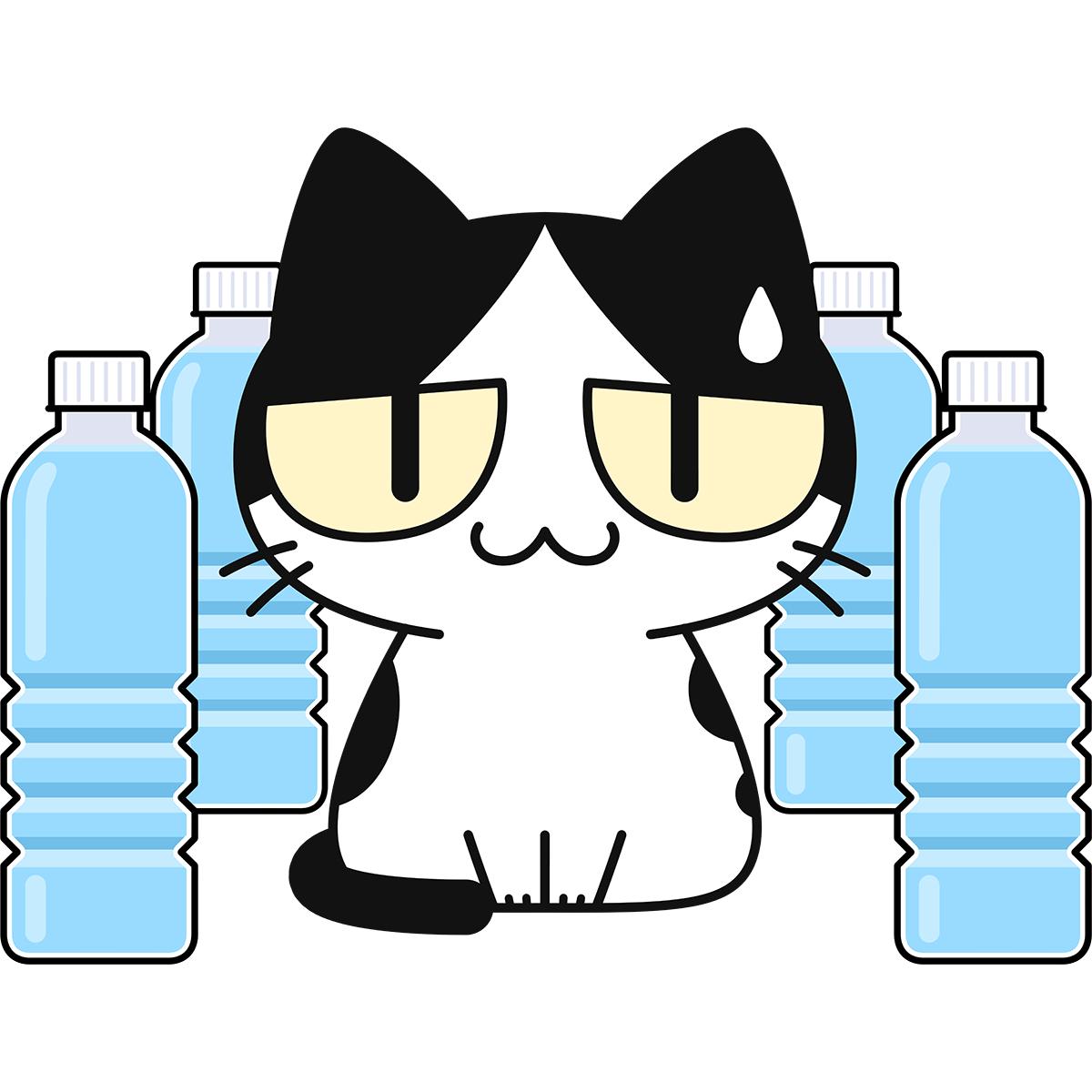 猫よけペットボトルに困る猫の無料イラスト