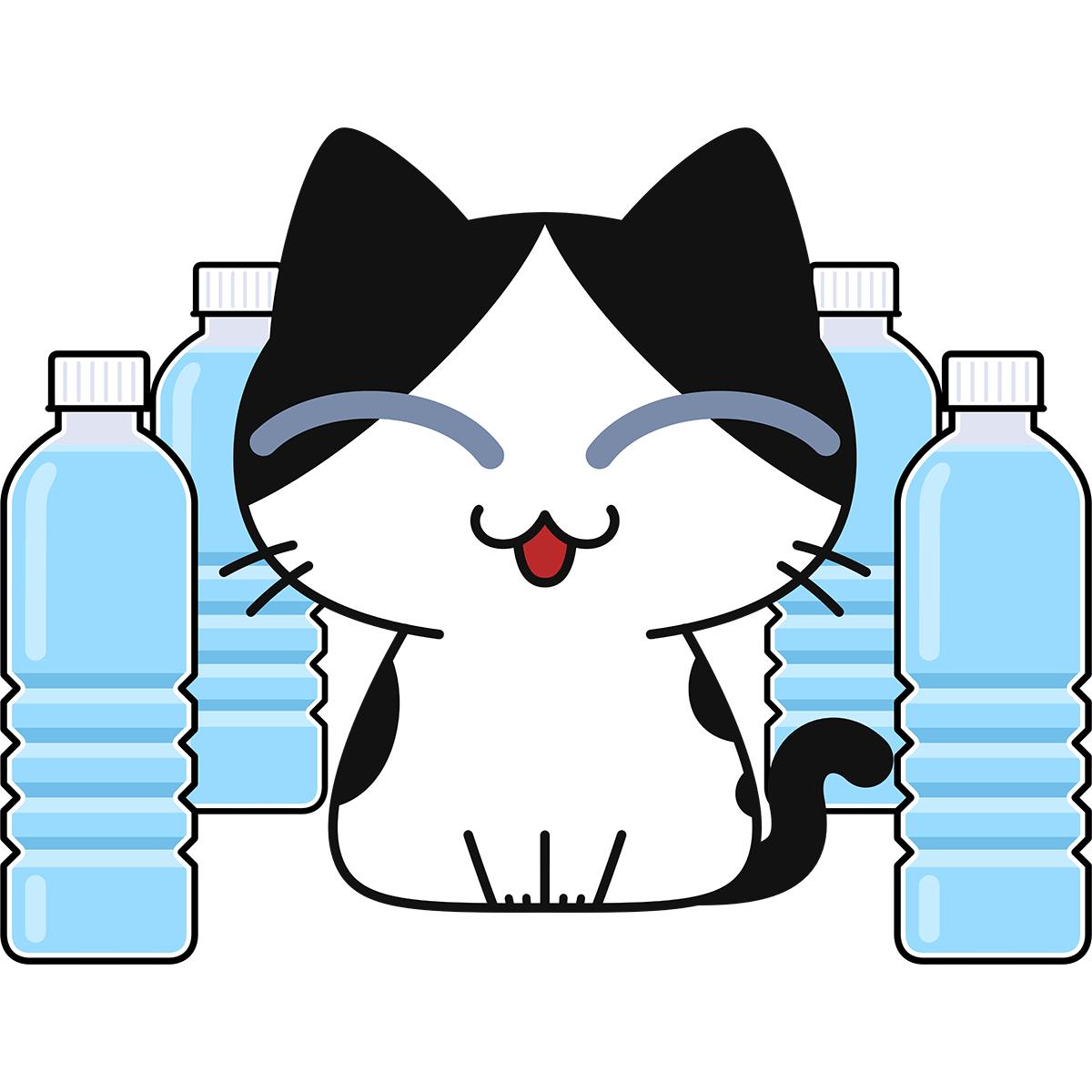 猫よけペットボトルを気にしない猫の無料イラスト