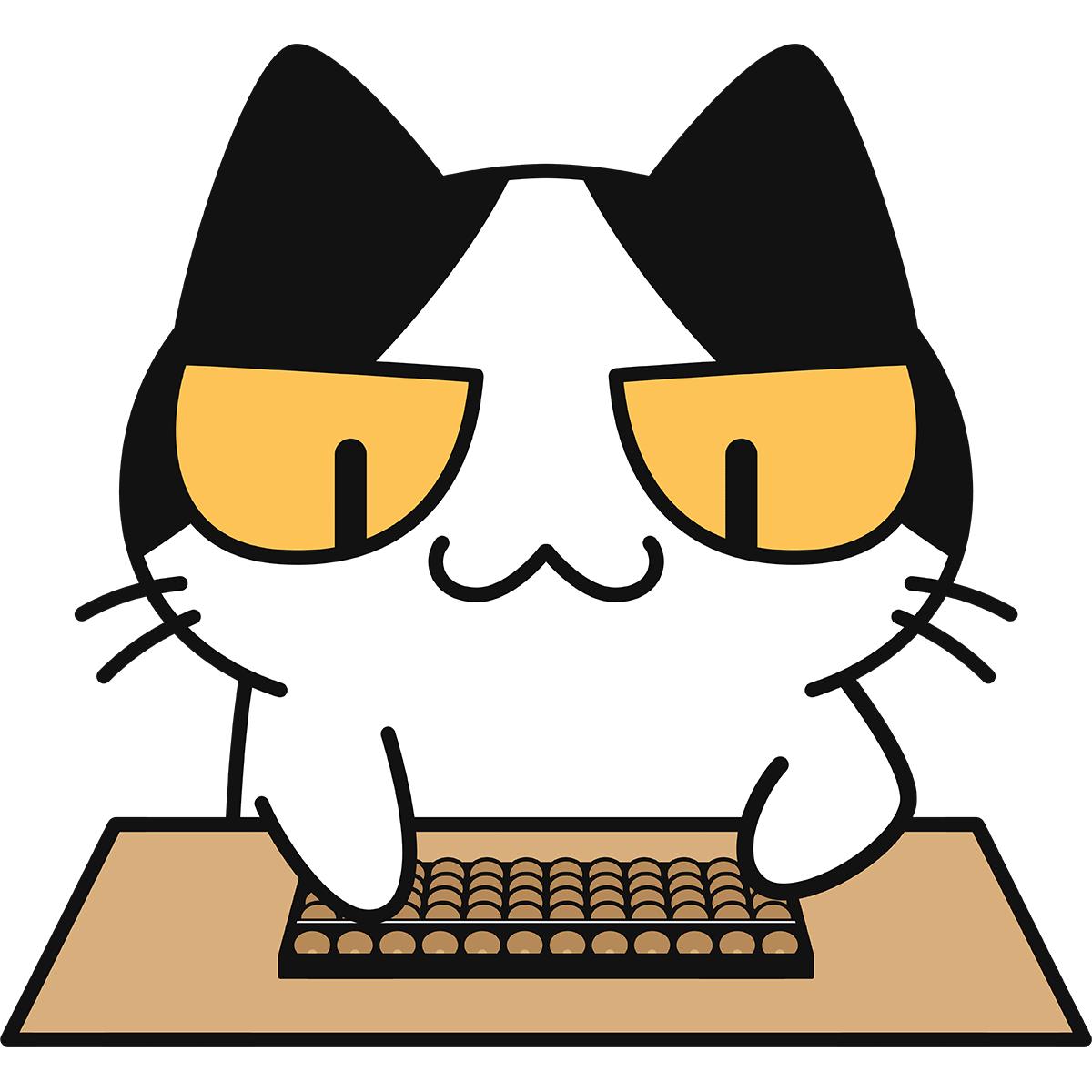 そろばんをする猫の無料イラスト